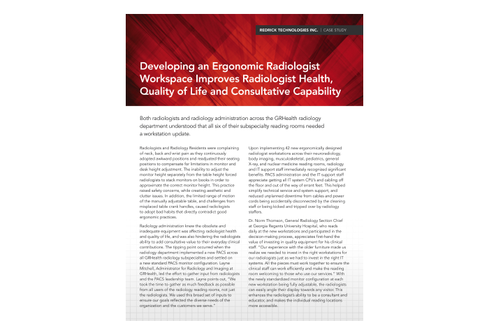 Developing an Ergonomic Radiologist Workspace Improves Radiologist Health, Quality of Life and Consultative Capability