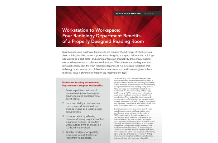 Workstation to Workspace; Four Radiology Department Benefits of a Properly Designed Reading Room