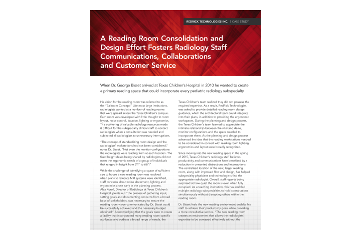 A Reading Room Consolidation and Design Effort Fosters Radiology Staff Communications Collaborations and Customer Service