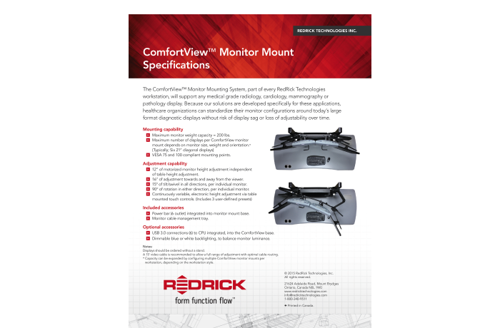 ComfortView™ Monitor Mount Specifications